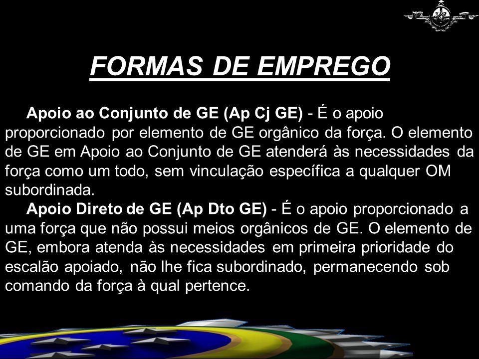 FORMAS DE EMPREGO Apoio ao Conjunto de GE (Ap Cj GE) - É o apoio proporcionado por elemento de GE orgânico da força.