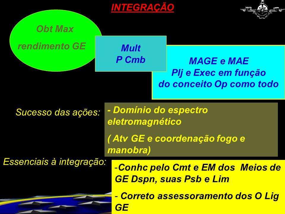MAGE e MAE Plj e Exec em função do conceito Op como todo -Conhc pelo Cmt e EM dos Meios de GE Dspn, suas Psb e Lim - Correto assessoramento dos O Lig GE INTEGRAÇÃO Obt Max rendimento GE Mult P Cmb Essenciais à integração: - Domínio do espectro eletromagnético ( Atv GE e coordenação fogo e manobra) Sucesso das ações: