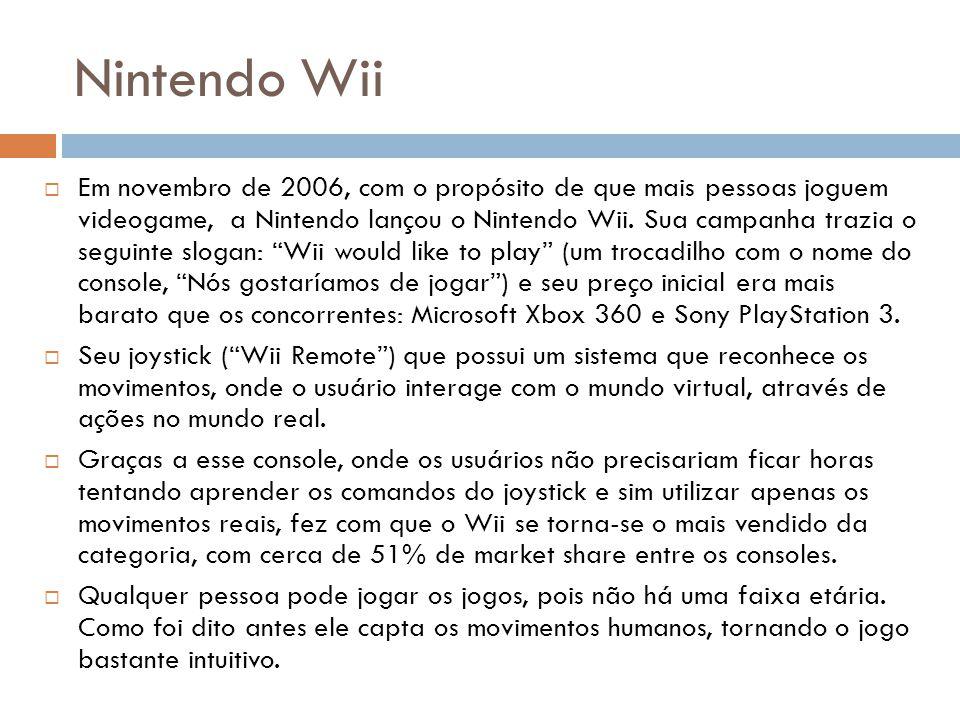 Nintendo Wii Em novembro de 2006, com o propósito de que mais pessoas joguem videogame, a Nintendo lançou o Nintendo Wii.
