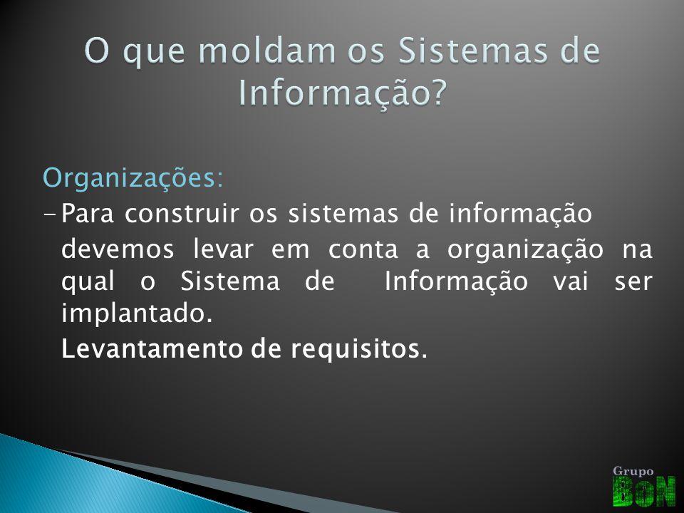 Organizações: -Para construir os sistemas de informação devemos levar em conta a organização na qual o Sistema de Informação vai ser implantado. Levan