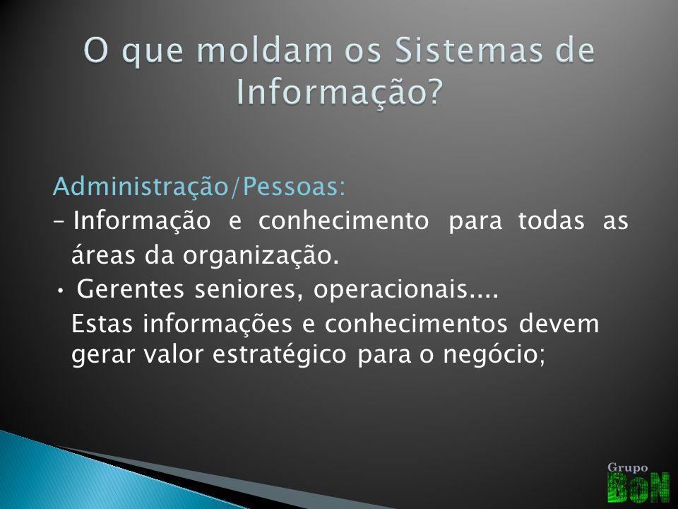 Administração/Pessoas: – Informação e conhecimento para todas as áreas da organização. Gerentes seniores, operacionais.... Estas informações e conheci