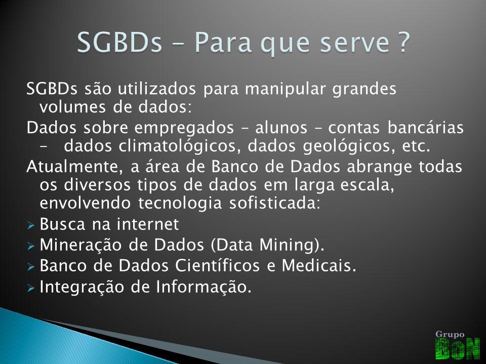 SGBDs são utilizados para manipular grandes volumes de dados: Dados sobre empregados – alunos – contas bancárias – dados climatológicos, dados geológicos, etc.