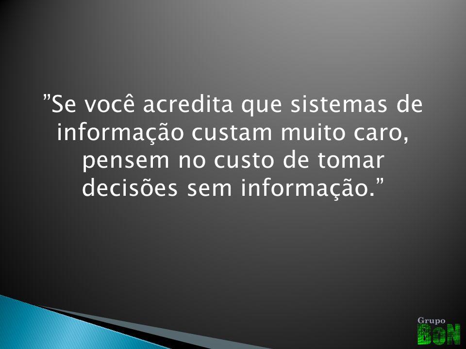 Se você acredita que sistemas de informação custam muito caro, pensem no custo de tomar decisões sem informação.
