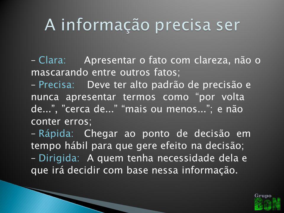 –Clara: Apresentar o fato com clareza, não o mascarando entre outros fatos; –Precisa: Deve ter alto padrão de precisão e nunca apresentar termos como