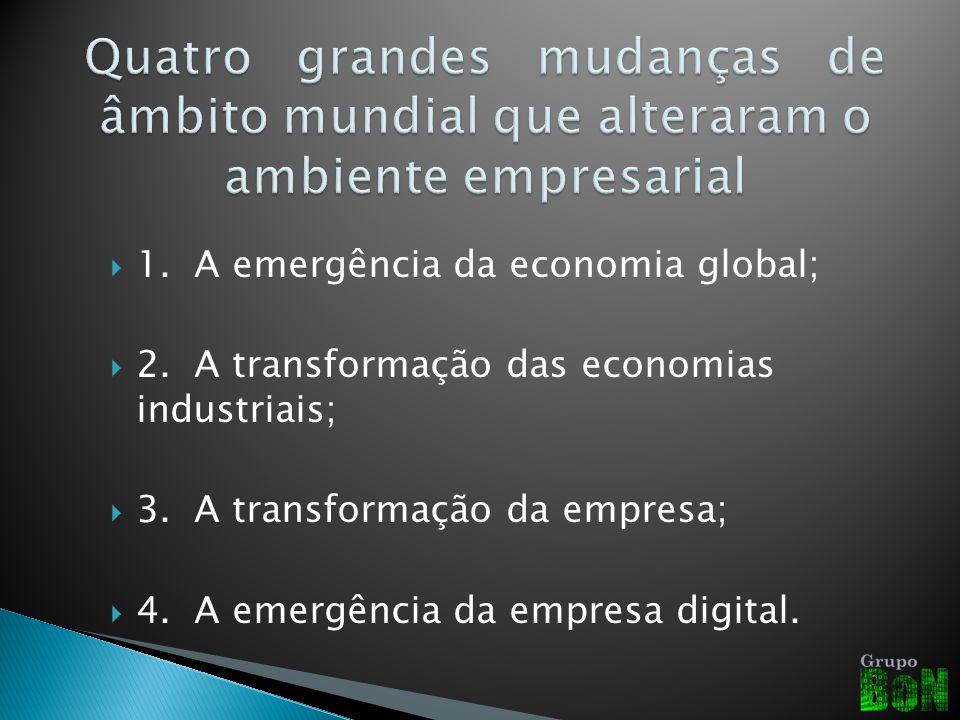 1.A emergência da economia global; 2.A transformação das economias industriais; 3.A transformação da empresa; 4.A emergência da empresa digital.