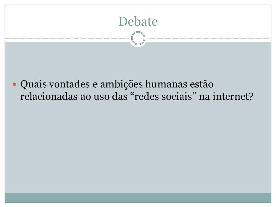 Debate Quais vontades e ambições humanas estão relacionadas ao uso das redes sociais na internet?