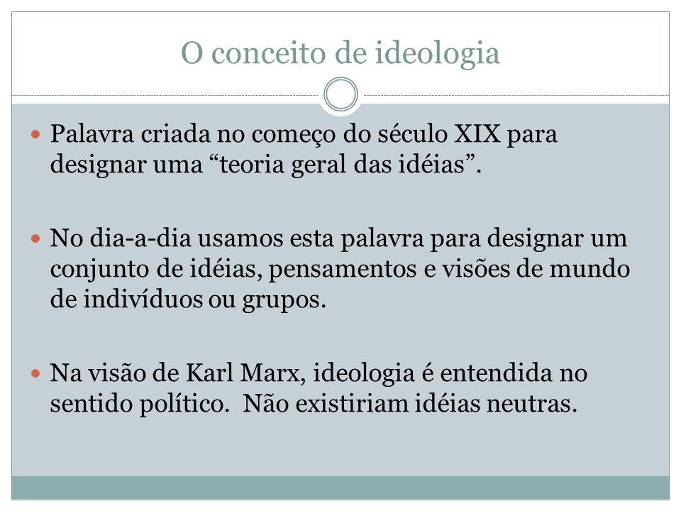 O conceito de ideologia Palavra criada no começo do século XIX para designar uma teoria geral das idéias.