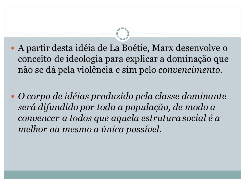 A partir desta idéia de La Boétie, Marx desenvolve o conceito de ideologia para explicar a dominação que não se dá pela violência e sim pelo convencim