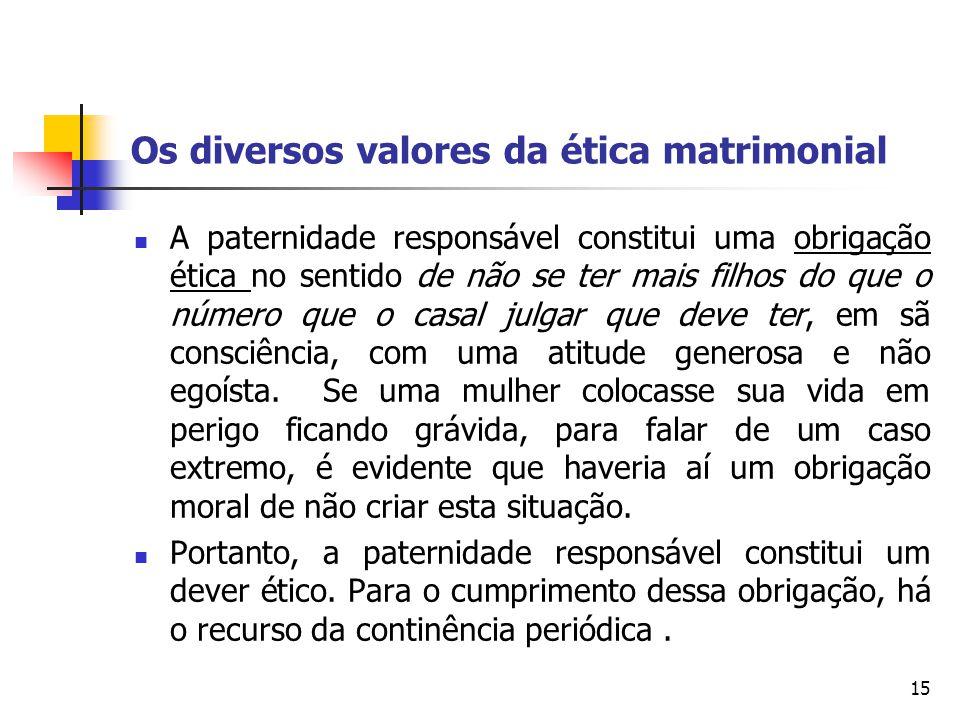 Os diversos valores da ética matrimonial A paternidade responsável constitui uma obrigação ética no sentido de não se ter mais filhos do que o número