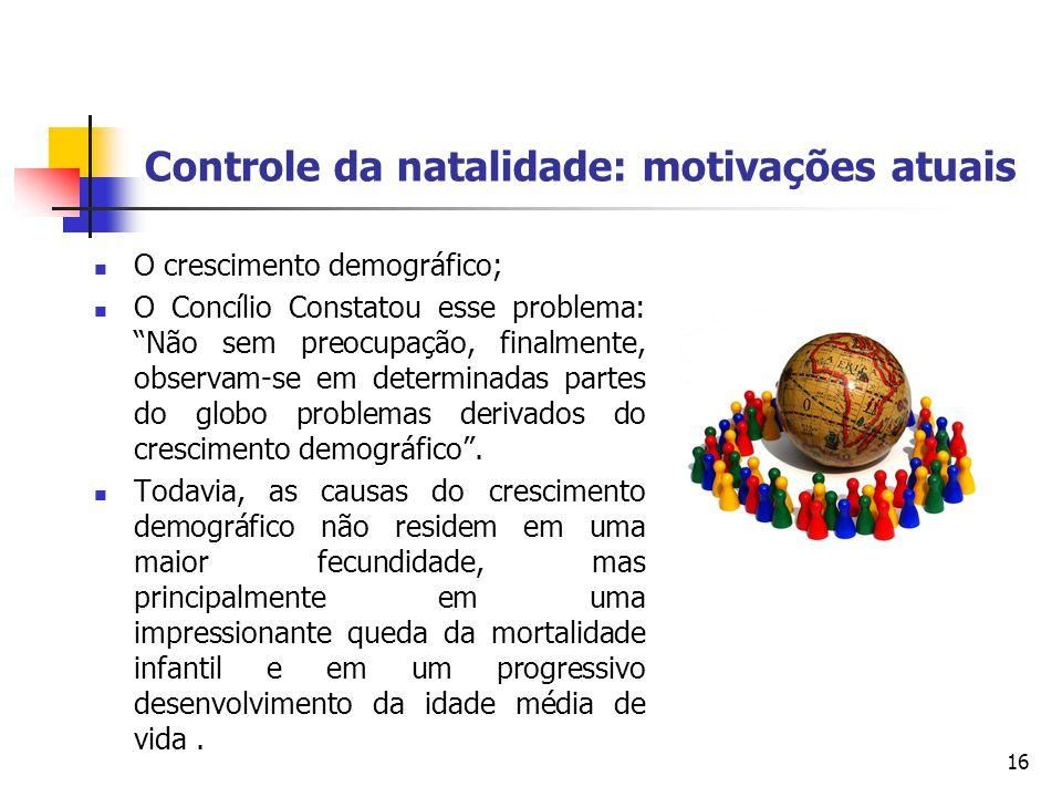 Controle da natalidade: motivações atuais O crescimento demográfico; O Concílio Constatou esse problema: Não sem preocupação, finalmente, observam-se