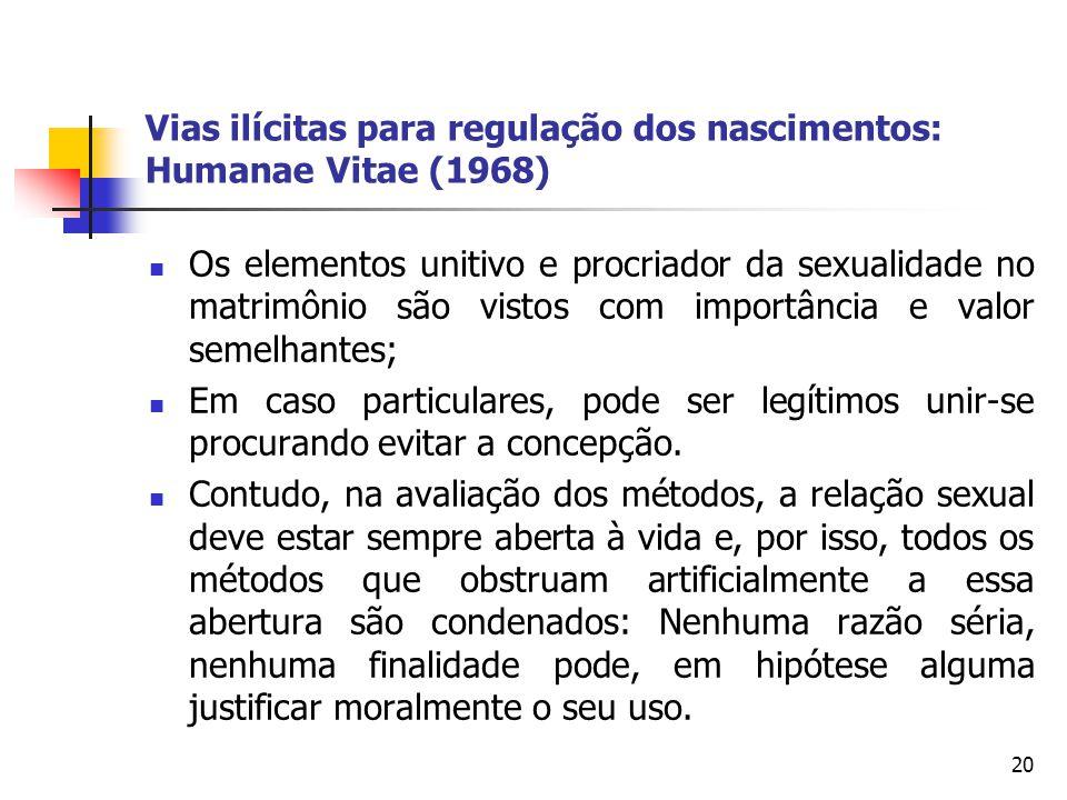 Vias ilícitas para regulação dos nascimentos: Humanae Vitae (1968) Os elementos unitivo e procriador da sexualidade no matrimônio são vistos com impor