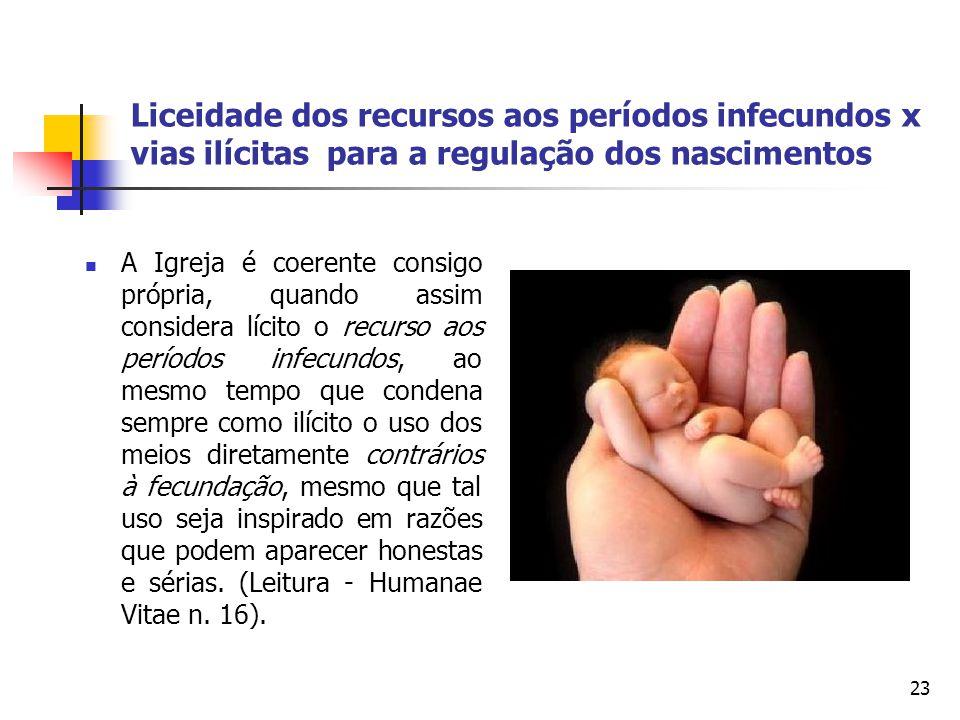 Liceidade dos recursos aos períodos infecundos x vias ilícitas para a regulação dos nascimentos A Igreja é coerente consigo própria, quando assim cons