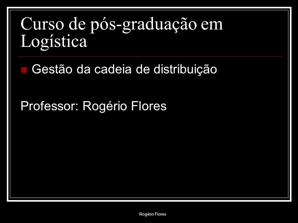 Rogério Flores Curso de pós-graduação em Logística Gestão da cadeia de distribuição Professor: Rogério Flores
