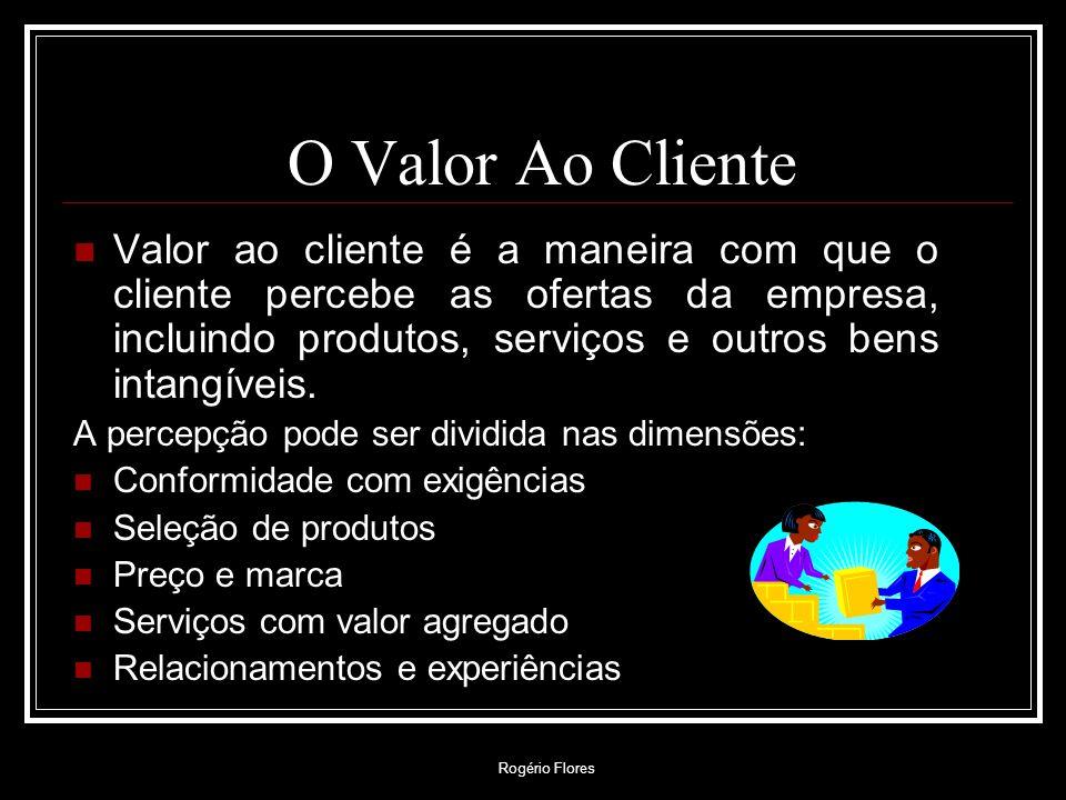 Rogério Flores O Valor Ao Cliente Valor ao cliente é a maneira com que o cliente percebe as ofertas da empresa, incluindo produtos, serviços e outros