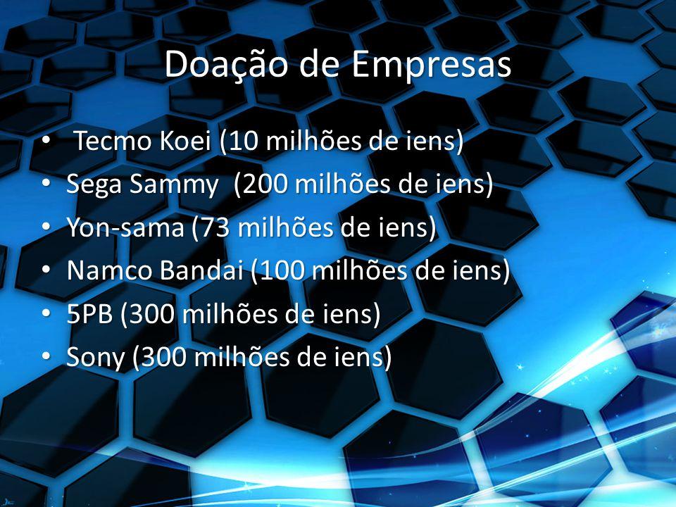Doação de Empresas Tecmo Koei (10 milhões de iens) Tecmo Koei (10 milhões de iens) Sega Sammy (200 milhões de iens) Sega Sammy (200 milhões de iens) Yon-sama (73 milhões de iens) Yon-sama (73 milhões de iens) Namco Bandai (100 milhões de iens) Namco Bandai (100 milhões de iens) 5PB (300 milhões de iens) 5PB (300 milhões de iens) Sony (300 milhões de iens) Sony (300 milhões de iens)