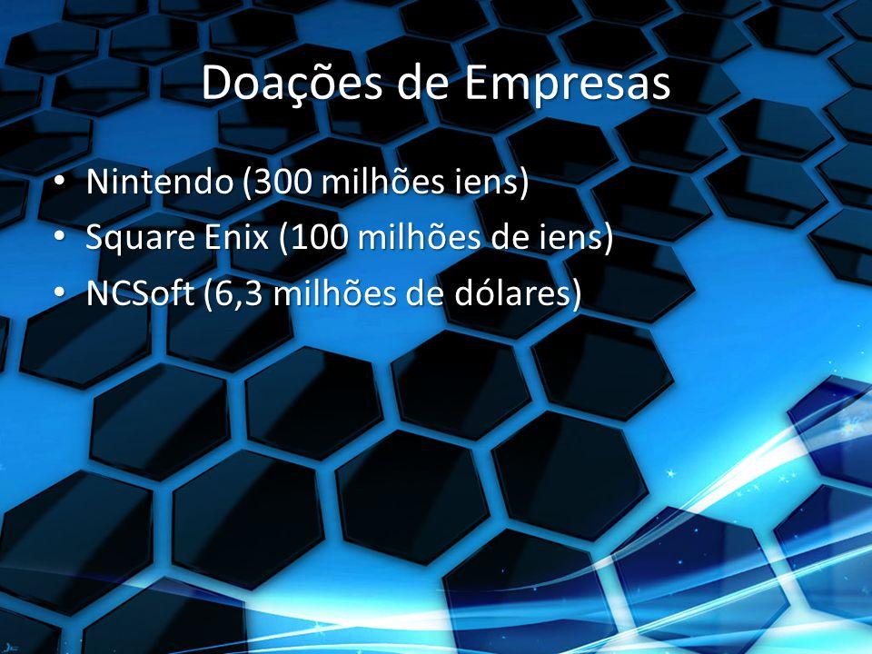 Doações de Empresas Nintendo (300 milhões iens) Nintendo (300 milhões iens) Square Enix (100 milhões de iens) Square Enix (100 milhões de iens) NCSoft (6,3 milhões de dólares) NCSoft (6,3 milhões de dólares)