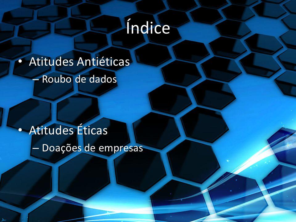 Índice Atitudes Antiéticas Atitudes Antiéticas – Roubo de dados Atitudes Éticas Atitudes Éticas – Doações de empresas
