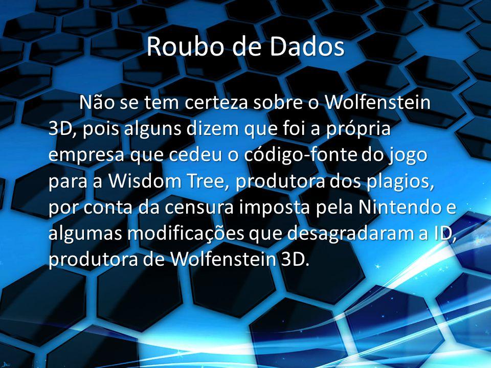 Roubo de Dados Não se tem certeza sobre o Wolfenstein 3D, pois alguns dizem que foi a própria empresa que cedeu o código-fonte do jogo para a Wisdom Tree, produtora dos plagios, por conta da censura imposta pela Nintendo e algumas modificações que desagradaram a ID, produtora de Wolfenstein 3D.