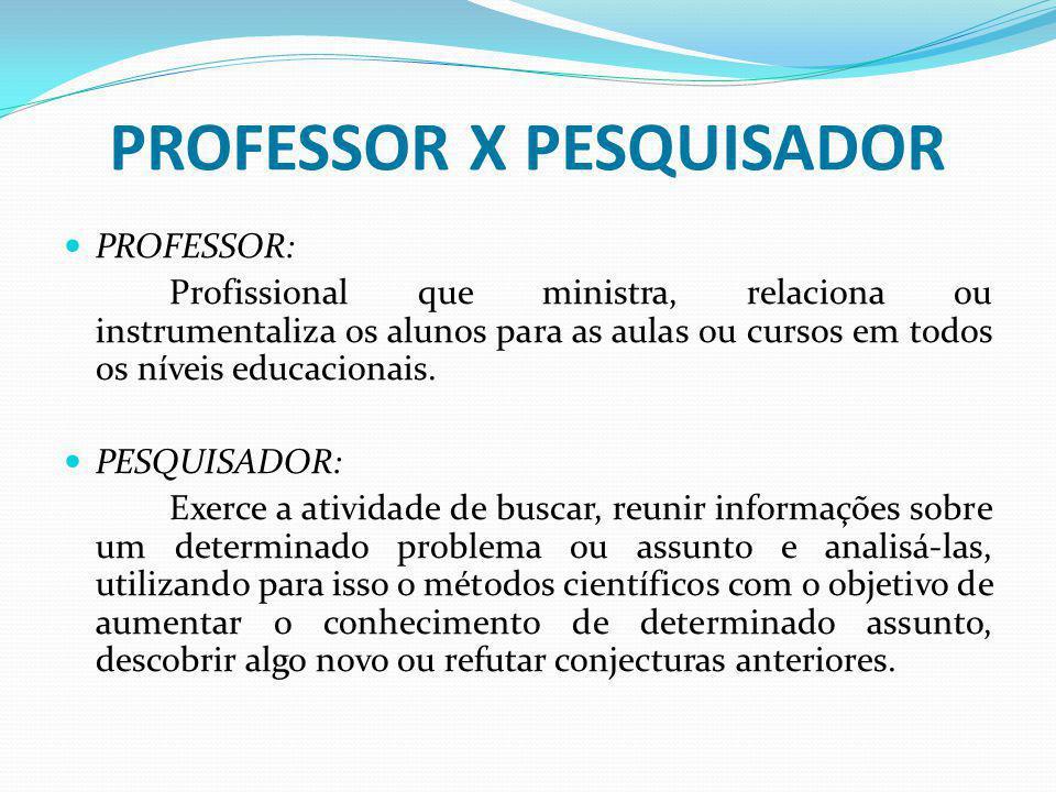 PROFESSOR X PESQUISADOR PROFESSOR: Profissional que ministra, relaciona ou instrumentaliza os alunos para as aulas ou cursos em todos os níveis educac