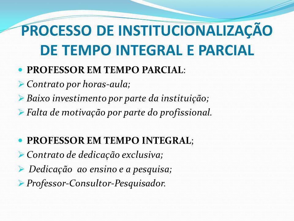 PROCESSO DE INSTITUCIONALIZAÇÃO DE TEMPO INTEGRAL E PARCIAL PROFESSOR EM TEMPO PARCIAL: Contrato por horas-aula; Baixo investimento por parte da insti