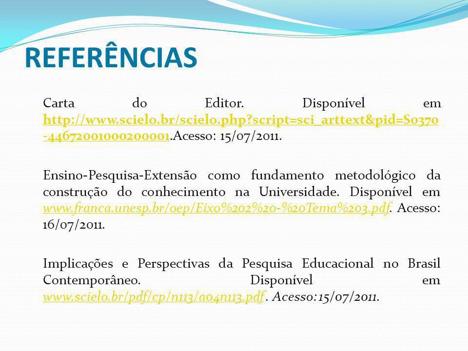 REFERÊNCIAS Carta do Editor. Disponível em http://www.scielo.br/scielo.php?script=sci_arttext&pid=S0370 -44672001000200001.Acesso: 15/07/2011. http://