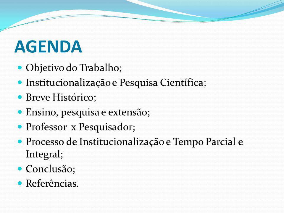 AGENDA Objetivo do Trabalho; Institucionalização e Pesquisa Científica; Breve Histórico; Ensino, pesquisa e extensão; Professor x Pesquisador; Process