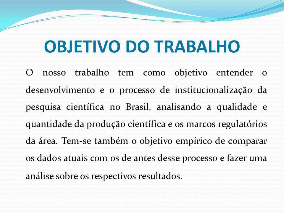 OBJETIVO DO TRABALHO O nosso trabalho tem como objetivo entender o desenvolvimento e o processo de institucionalização da pesquisa científica no Brasi