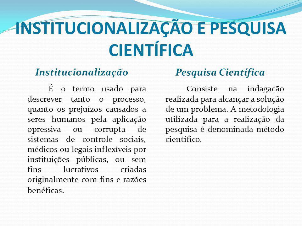 INSTITUCIONALIZAÇÃO E PESQUISA CIENTÍFICA Institucionalização Pesquisa Científica É o termo usado para descrever tanto o processo, quanto os prejuízos