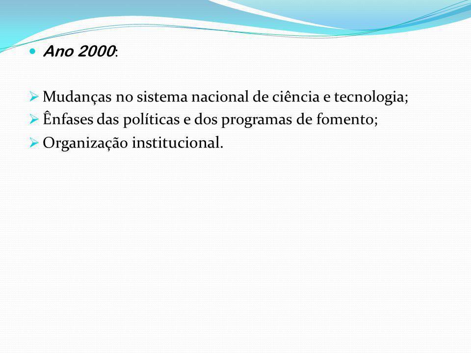 Ano 2000 : Mudanças no sistema nacional de ciência e tecnologia; Ênfases das políticas e dos programas de fomento; Organização institucional.