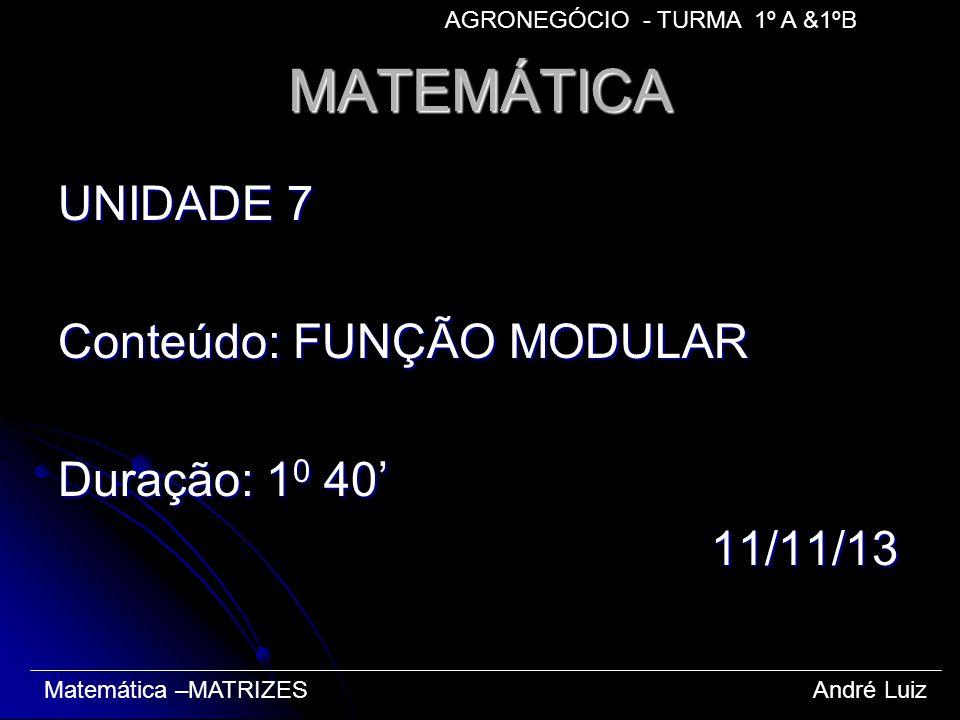 MATEMÁTICA UNIDADE 7 Conteúdo: FUNÇÃO MODULAR Duração: 1 0 40 11/11/13 11/11/13 Matemática –MATRIZES André Luiz AGRONEGÓCIO - TURMA 1º A &1ºB