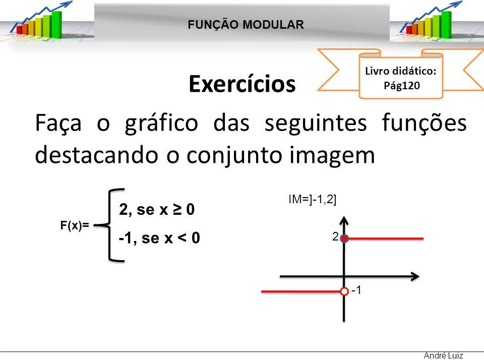 Exercícios Faça o gráfico das seguintes funções destacando o conjunto imagem FUNÇÃO MODULAR André Luiz Livro didático: Pág120 F(x)= 2x, se x 1 2, se x < 1 2 IM = { y 2 } 1