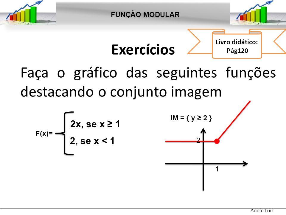 Exercícios Faça o gráfico das seguintes funções destacando o conjunto imagem FUNÇÃO MODULAR André Luiz Livro didático: Pág120 F(x)= 1, se x < 2 2, se x >2 3 IM = ]1, 3] 2 3, se x = 2 1 2