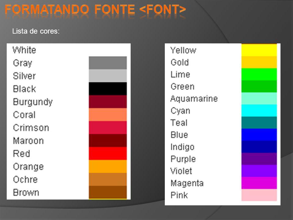 Lista de cores: