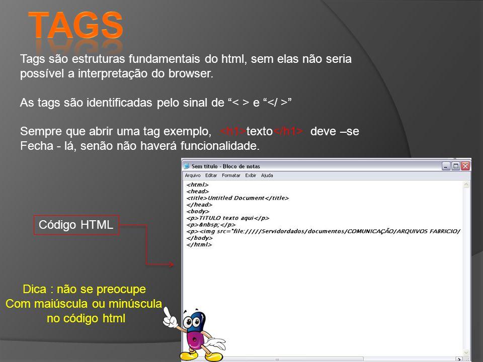 Tags são estruturas fundamentais do html, sem elas não seria possível a interpretação do browser.
