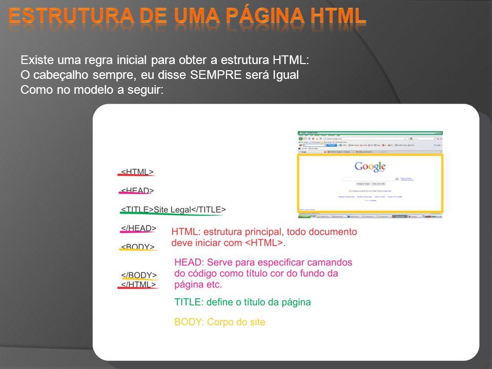 Existe uma regra inicial para obter a estrutura HTML: O cabeçalho sempre, eu disse SEMPRE será Igual Como no modelo a seguir: