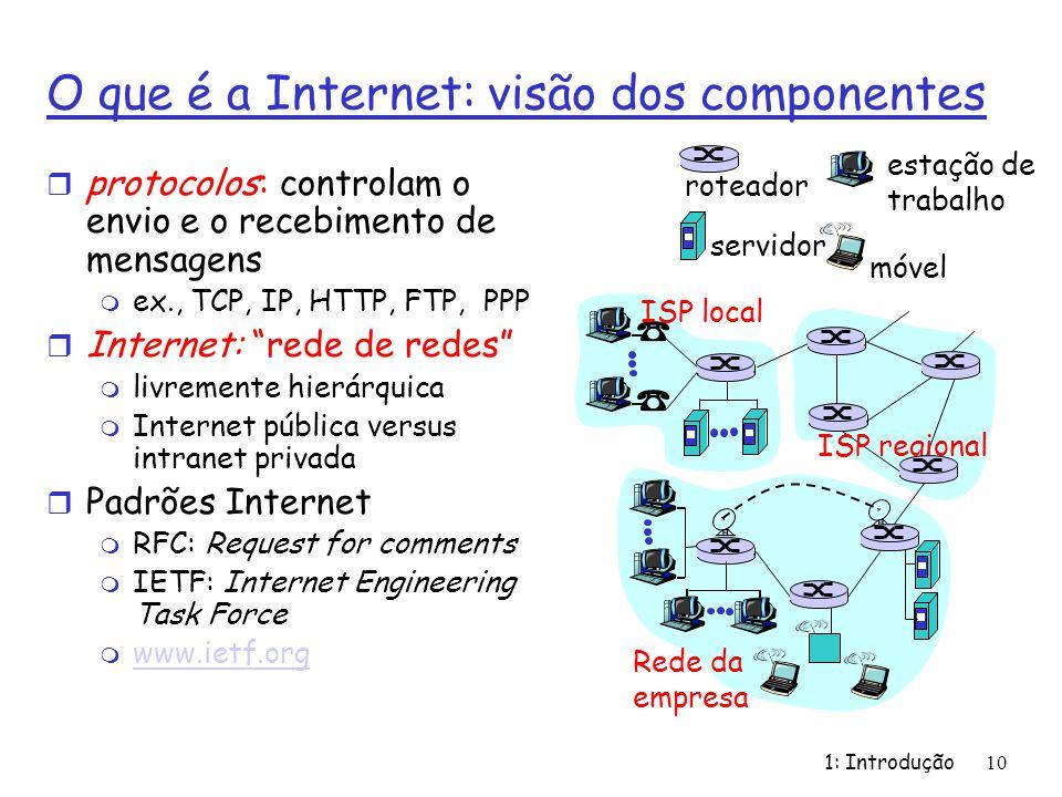 10 O que é a Internet: visão dos componentes r protocolos: controlam o envio e o recebimento de mensagens m ex., TCP, IP, HTTP, FTP, PPP r Internet: r