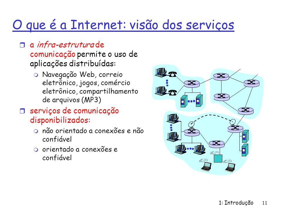 1: Introdução11 O que é a Internet: visão dos serviços r a infra-estrutura de comunicação permite o uso de aplicações distribuídas: m Navegação Web, c