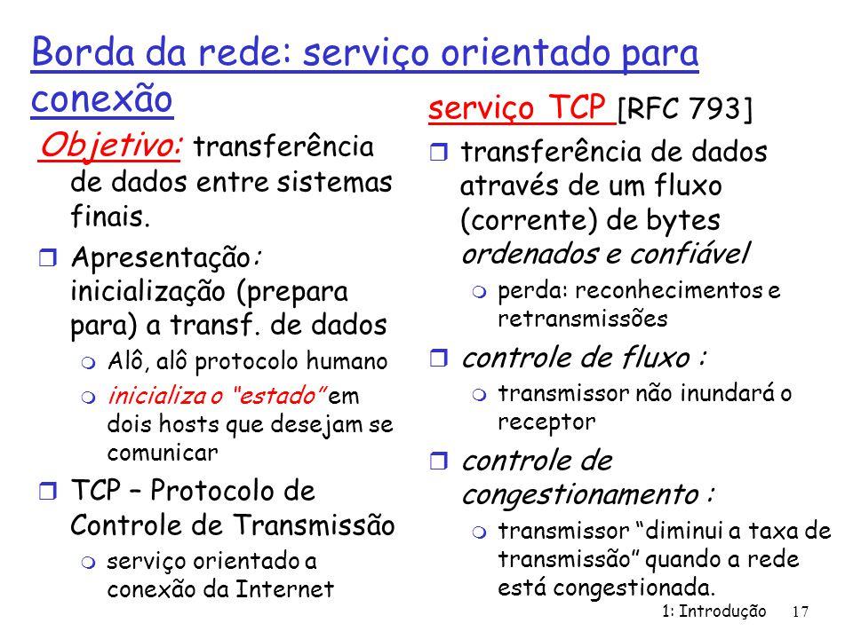 1: Introdução17 Borda da rede: serviço orientado para conexão Objetivo: transferência de dados entre sistemas finais. r Apresentação: inicialização (p