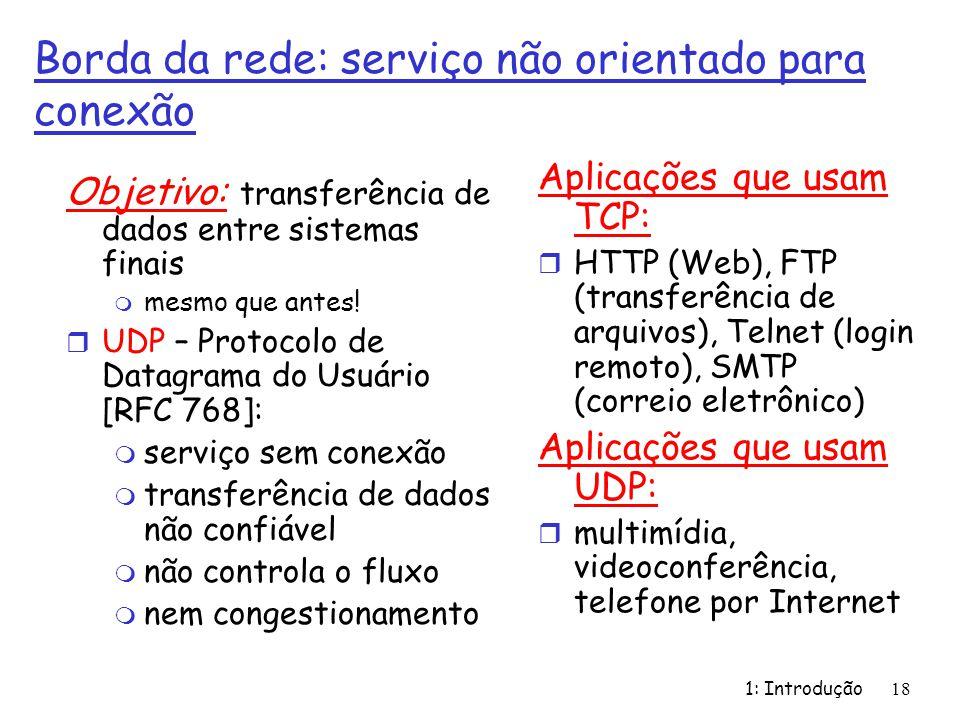 1: Introdução18 Borda da rede: serviço não orientado para conexão Objetivo: transferência de dados entre sistemas finais m mesmo que antes! r UDP – Pr