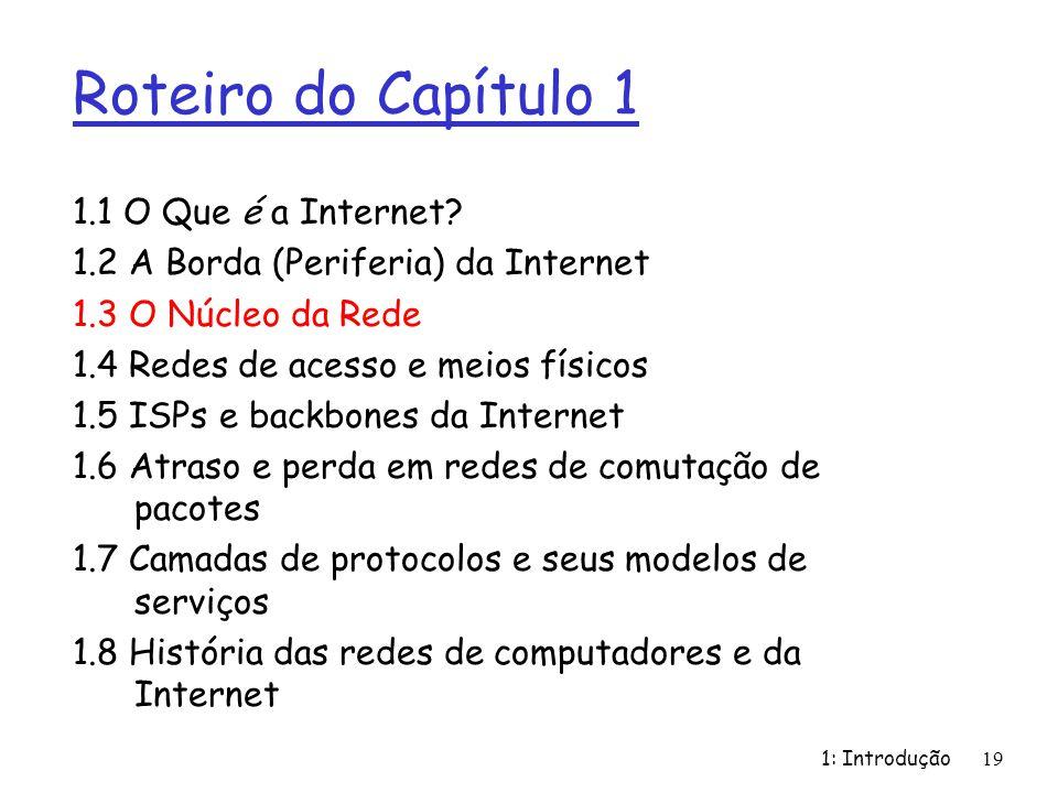 1: Introdução19 Roteiro do Capítulo 1 1.1 O Que é a Internet? 1.2 A Borda (Periferia) da Internet 1.3 O Núcleo da Rede 1.4 Redes de acesso e meios fís