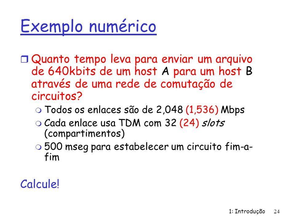 1: Introdução24 Exemplo numérico r Quanto tempo leva para enviar um arquivo de 640kbits de um host A para um host B através de uma rede de comutação de circuitos.