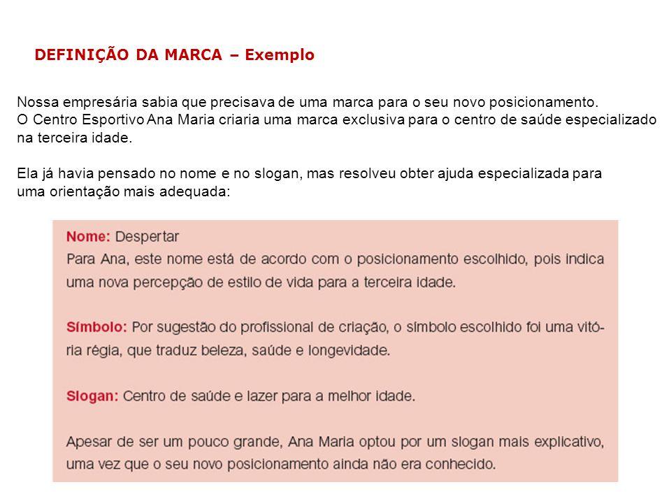 DEFINIÇÃO DA MARCA – Exemplo Nossa empresária sabia que precisava de uma marca para o seu novo posicionamento. O Centro Esportivo Ana Maria criaria um
