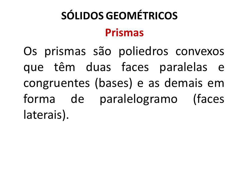 SÓLIDOS GEOMÉTRICOS Prismas Os prismas são poliedros convexos que têm duas faces paralelas e congruentes (bases) e as demais em forma de paralelogramo (faces laterais).
