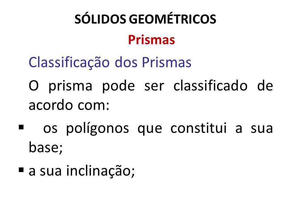 SÓLIDOS GEOMÉTRICOS Prismas Classificação dos Prismas O prisma pode ser classificado de acordo com: os polígonos que constitui a sua base; a sua inclinação;