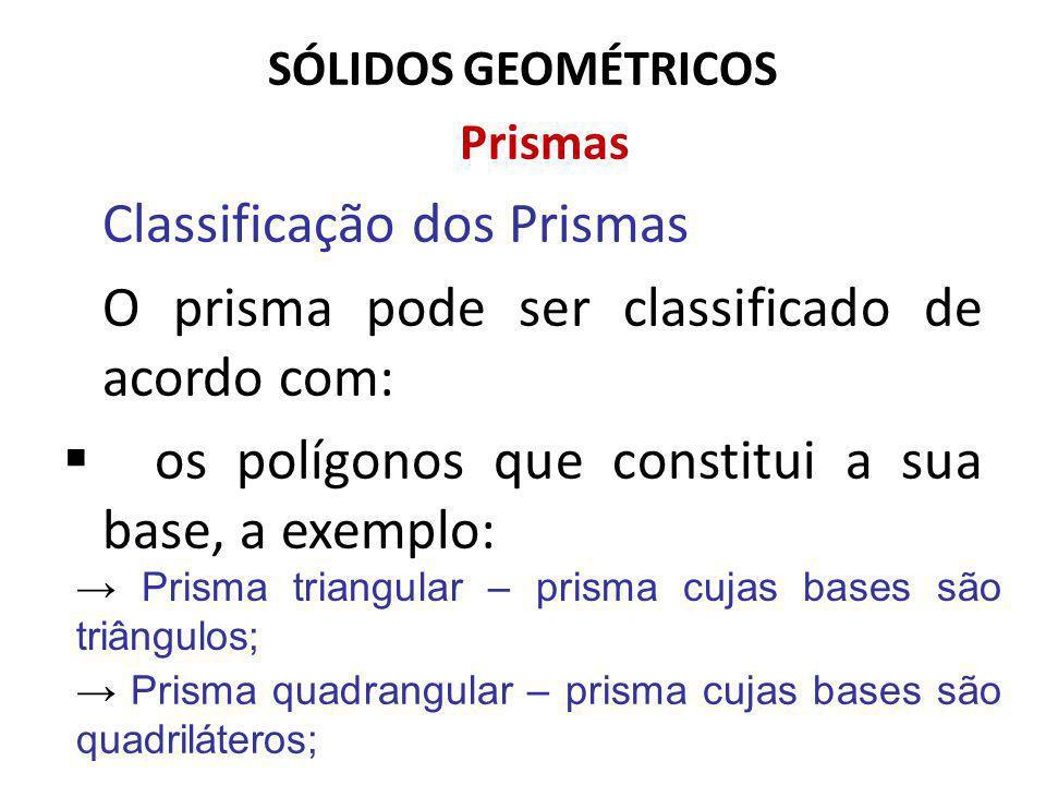 SÓLIDOS GEOMÉTRICOS Prismas Classificação dos Prismas O prisma pode ser classificado de acordo com: os polígonos que constitui a sua base, a exemplo: Prisma triangular – prisma cujas bases são triângulos; Prisma quadrangular – prisma cujas bases são quadriláteros;