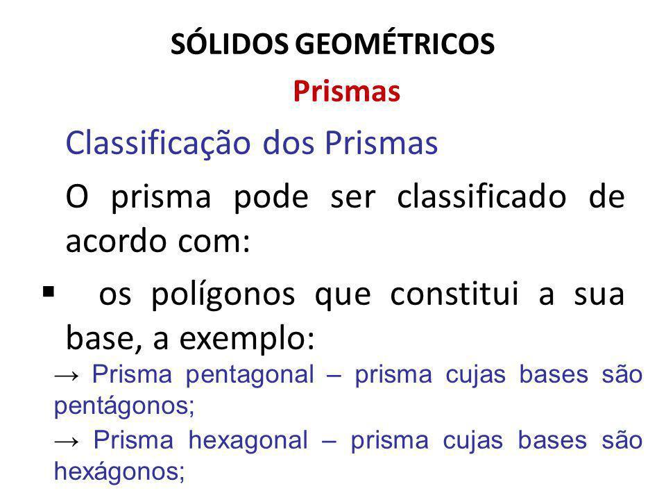 SÓLIDOS GEOMÉTRICOS Prismas Classificação dos Prismas O prisma pode ser classificado de acordo com: os polígonos que constitui a sua base, a exemplo: Prisma pentagonal – prisma cujas bases são pentágonos; Prisma hexagonal – prisma cujas bases são hexágonos;
