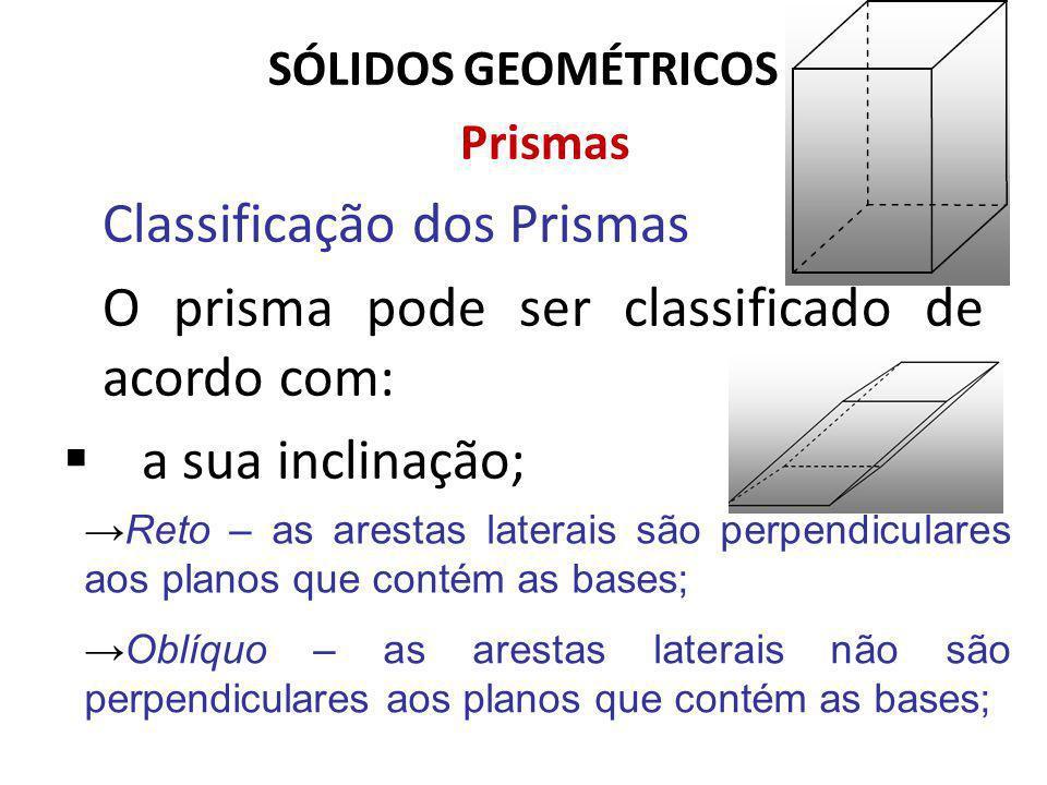 SÓLIDOS GEOMÉTRICOS Prismas Classificação dos Prismas O prisma pode ser classificado de acordo com: a sua inclinação; Reto – as arestas laterais são perpendiculares aos planos que contém as bases; Oblíquo – as arestas laterais não são perpendiculares aos planos que contém as bases;