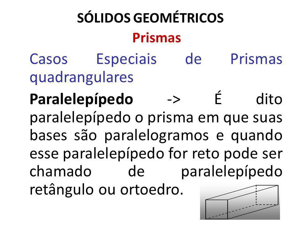 SÓLIDOS GEOMÉTRICOS Prismas Casos Especiais de Prismas quadrangulares Paralelepípedo -> É dito paralelepípedo o prisma em que suas bases são paralelogramos e quando esse paralelepípedo for reto pode ser chamado de paralelepípedo retângulo ou ortoedro.