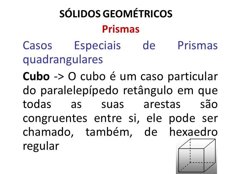SÓLIDOS GEOMÉTRICOS Prismas Casos Especiais de Prismas quadrangulares Cubo -> O cubo é um caso particular do paralelepípedo retângulo em que todas as suas arestas são congruentes entre si, ele pode ser chamado, também, de hexaedro regular