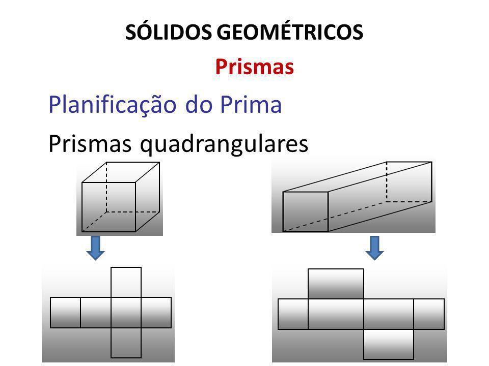 SÓLIDOS GEOMÉTRICOS Prismas Planificação do Prima Prismas quadrangulares